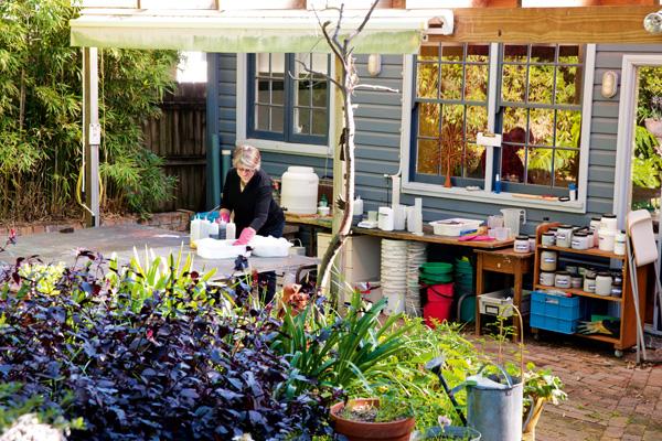 Textile studio backyard
