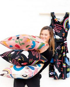 Image 4 Nerida Hansen With Some Products From A Recent Lisa Congdon X Nerida Hansen Fabrics Collaboration